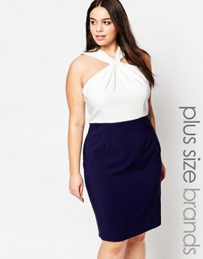 photo Knot Front Pencil Dress with Neck Detail by Paper Dolls Plus, color Navy - Image 1