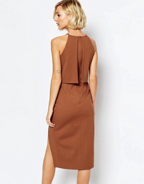 photo High Neck Cropped Side Split Bodycon Midi Dress by Lavish Alice, color Teracotta - Image 2