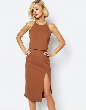 photo High Neck Cropped Side Split Bodycon Midi Dress by Lavish Alice, color Teracotta - Image 1