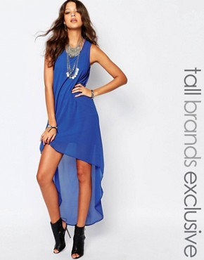 photo Hi Low Dress with Open Back by Noisy May Tall, color Blue - Image 1