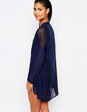 photo Lace Trimmed Smock Dress with Balloon Sleeves by Moon River, color Navy - Image 2
