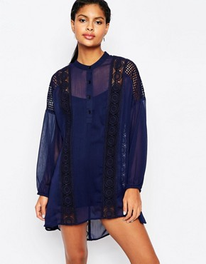 photo Lace Trimmed Smock Dress with Balloon Sleeves by Moon River, color Navy - Image 1