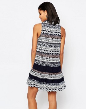 photo Drop Waist Dress in Lace Print by Moon River, color Navy - Image 2