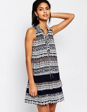 photo Drop Waist Dress in Lace Print by Moon River, color Navy - Image 1