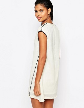 photo Tunic Dress with Blanket Stitching by Moon River, color Cream - Image 2