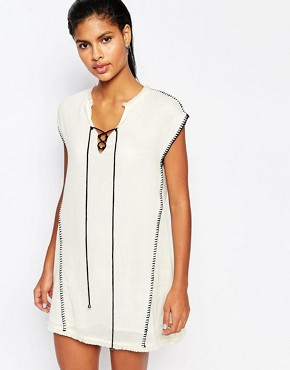 photo Tunic Dress with Blanket Stitching by Moon River, color Cream - Image 1
