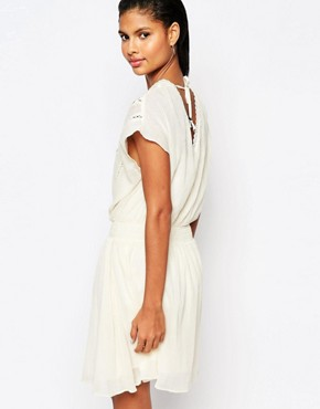 photo Cinched Waist Dress with Lace Embroidery by Moon River, color Cream - Image 2