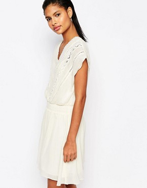 photo Cinched Waist Dress with Lace Embroidery by Moon River, color Cream - Image 1