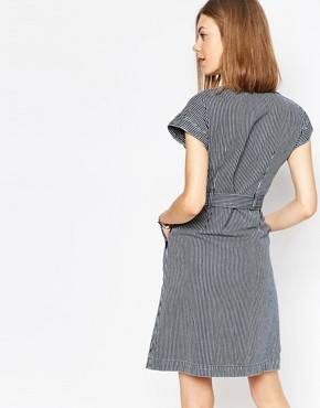photo MiH Jeans. Jeans Belted Denim Dress in Striped Print by MiH Jeans, color Indigo Stripe - Image 2