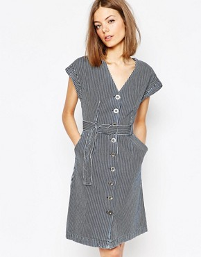 photo MiH Jeans. Jeans Belted Denim Dress in Striped Print by MiH Jeans, color Indigo Stripe - Image 1