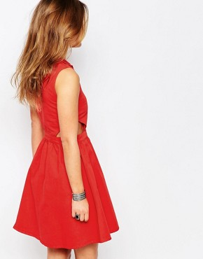 photo Western Cut Out Dress by Noisy May Petite, color Red - Image 2