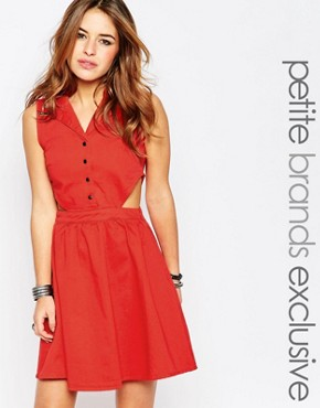photo Western Cut Out Dress by Noisy May Petite, color Red - Image 1