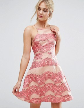 photo Lace Panel Mini Dress with Flippy Hem by True Decadence, color Coral - Image 1