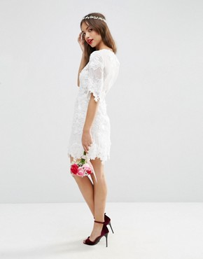 photo Lace Embroidered Mini Shift Dress by ASOS BRIDAL, color White - Image 2