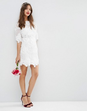photo Lace Embroidered Mini Shift Dress by ASOS BRIDAL, color White - Image 1