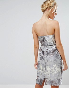 photo Pencil Dress with Overlay in Metallic Jacquard by Little Mistress, color Silver Grey - Image 2