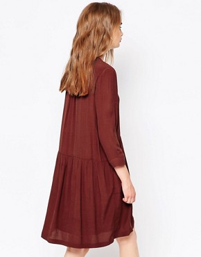 photo Lola Smock Dress in Chocolate by Just Female, color Chocolate - Image 2