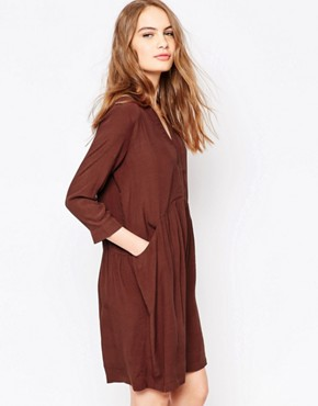 photo Lola Smock Dress in Chocolate by Just Female, color Chocolate - Image 1
