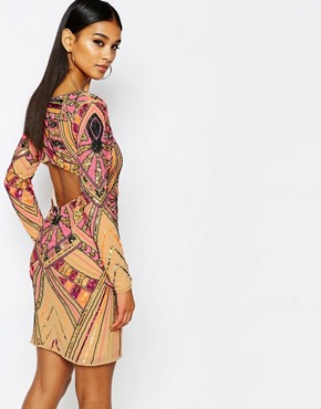 photo Premium Embellished Midi Dress with Open Back Detail by WOW Couture, color Multi Embellishment - Image 2