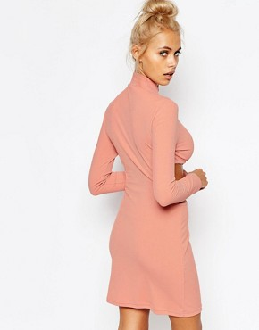 photo High Neck Bodycon Dress with Cut Out Ring Detail by The Ragged Priest, color Pink - Image 2