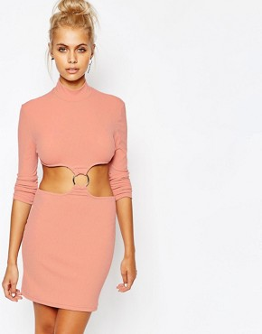 photo High Neck Bodycon Dress with Cut Out Ring Detail by The Ragged Priest, color Pink - Image 1