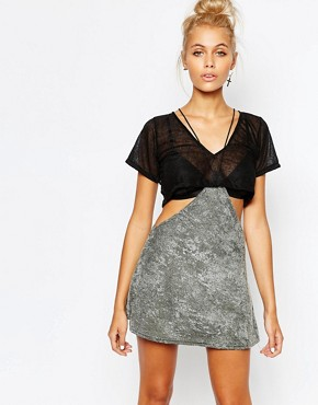 photo Cut Out Double Layer T-Shirt Dress by The Ragged Priest, color Black - Image 1