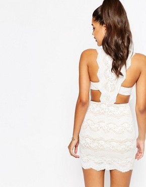 photo Lace Mini Dress with Scalloped Back by Love Triangle, color White - Image 2