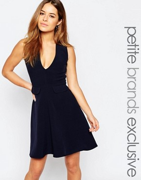 photo Plunge Pinafore Skater with Pocket Detail by Alter Petite, color Navy - Image 1