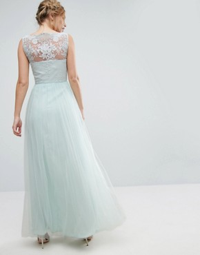 photo Bardot Neck Sleeveless Maxi Dress with Premium Lace and Tulle Skirt by Chi Chi London, color Morning Mist - Image 2