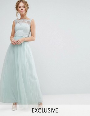 photo Bardot Neck Sleeveless Maxi Dress with Premium Lace and Tulle Skirt by Chi Chi London, color Morning Mist - Image 1