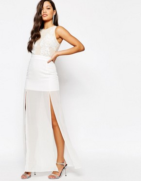 photo Embellished Top Maxi Dress by Missguided Premium, color Cream - Image 1