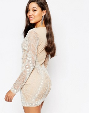 photo Geo Embellished Bodycon Mini Dress by Missguided Premium, color Cream - Image 2