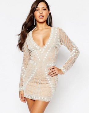 photo Geo Embellished Bodycon Mini Dress by Missguided Premium, color Cream - Image 1