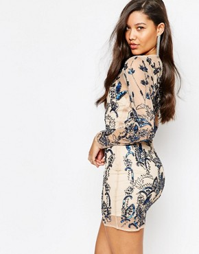 photo Floral Embellished Bodycon Mini Dress by Missguided Premium, color Cream - Image 2