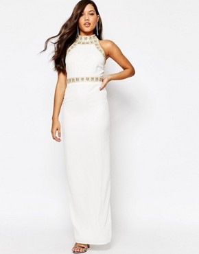 photo Pearl trim Maxi Dress by Missguided Premium, color Cream - Image 1