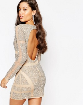 photo Panelled Embellished Mini Dress by Missguided Premium, color Cream - Image 2