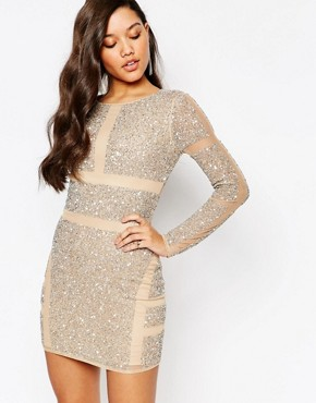 photo Panelled Embellished Mini Dress by Missguided Premium, color Cream - Image 1