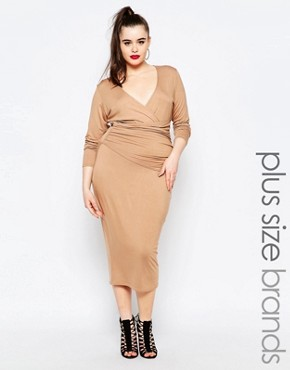 photo Wrap Front Pencil Dress by Missguided Plus, color Nude - Image 1