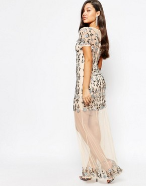 photo Floral Embellished Mesh Maxi Dress by Missguided Premium, color Cream - Image 2