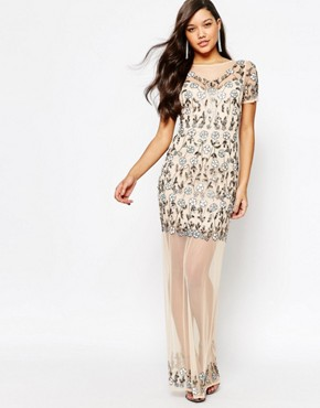photo Floral Embellished Mesh Maxi Dress by Missguided Premium, color Cream - Image 1