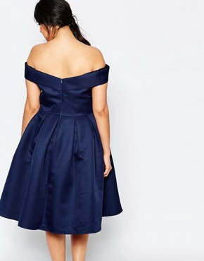 photo Midi Prom Dress with Full Skirt and Bardot Neck by Chi Chi London Plus, color Navy - Image 2