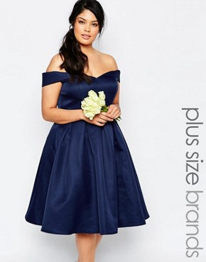 photo Midi Prom Dress with Full Skirt and Bardot Neck by Chi Chi London Plus, color Navy - Image 1