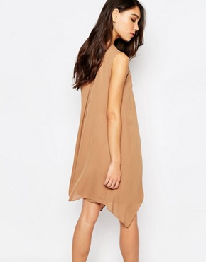 photo Sleeveless Layered Dress in Camel by Sisley, color Camel - Image 2