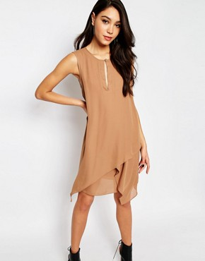 photo Sleeveless Layered Dress in Camel by Sisley, color Camel - Image 1