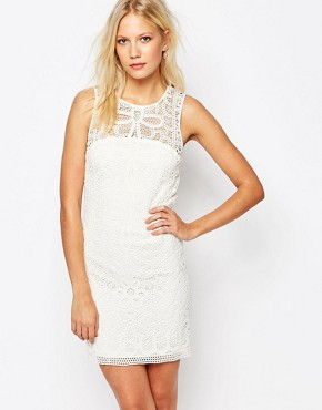 photo Crochet Sleeveless Dress in White by Sisley, color Off White - Image 1