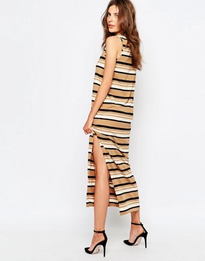 photo Sleeveless Jersey Stripe Dress by Sisley, color Beige Multi - Image 2