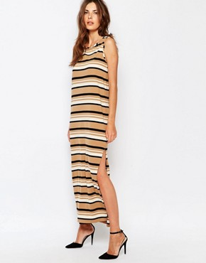 photo Sleeveless Jersey Stripe Dress by Sisley, color Beige Multi - Image 1