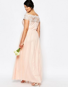 photo Maxi Dress with Premium Lace and Tulle Skirt by Chi Chi London Plus, color Pink - Image 2