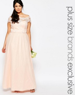 photo Maxi Dress with Premium Lace and Tulle Skirt by Chi Chi London Plus, color Pink - Image 1