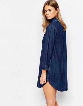 photo High Neck Denim Tunic Dress by Rollas, color Blue - Image 2
